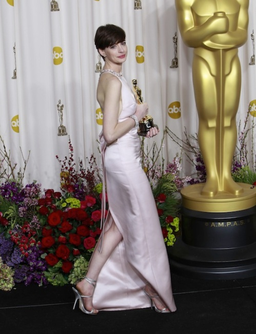 Anne Hathaway in custom vegan Giuseppe Zanotti heels